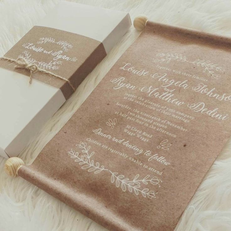 Linen and Wood Scroll Invitations in white