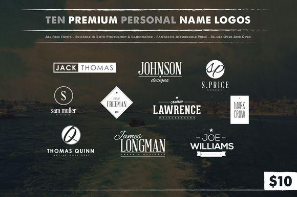 10 Personal Name Logos by Jack_Piingu on @creativemarket