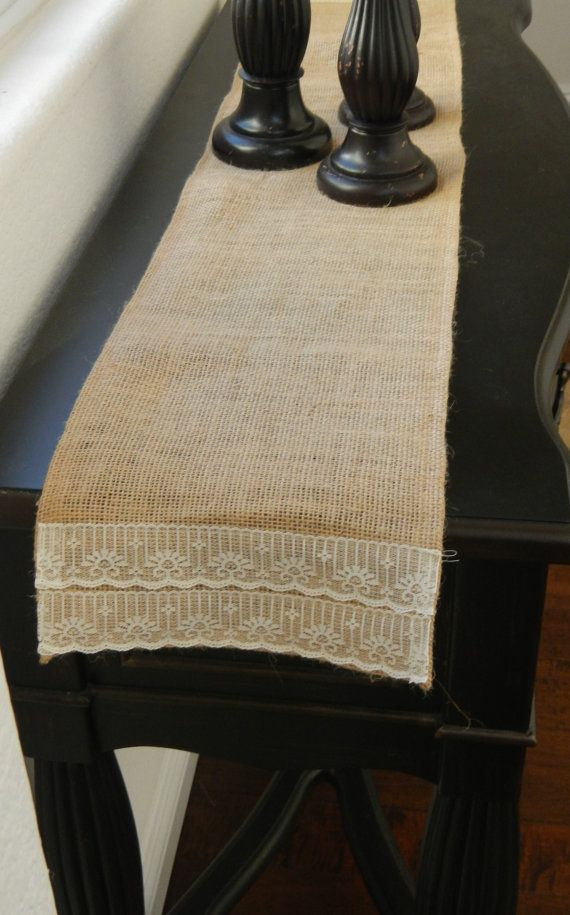 Burlap Table Runner with Lace For Entryway by LolaRoseDesigns, $9.95