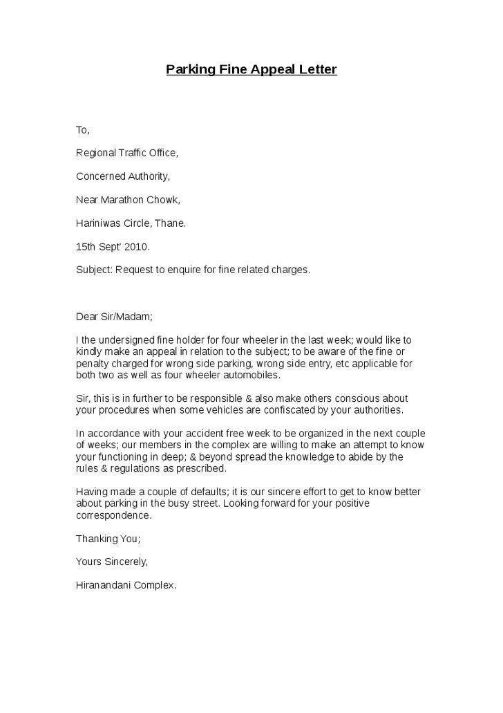 Letter Of Appeal Sample Lettering Reference Letter Appealing