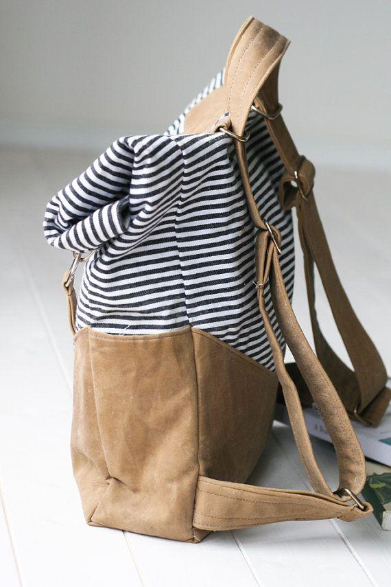 Retro Rucksack PDF Sewing Pattern | Convertible Straps | Vintage Backpack or Shoulder Bag Tote | Canvas Fold Over Tote Bag