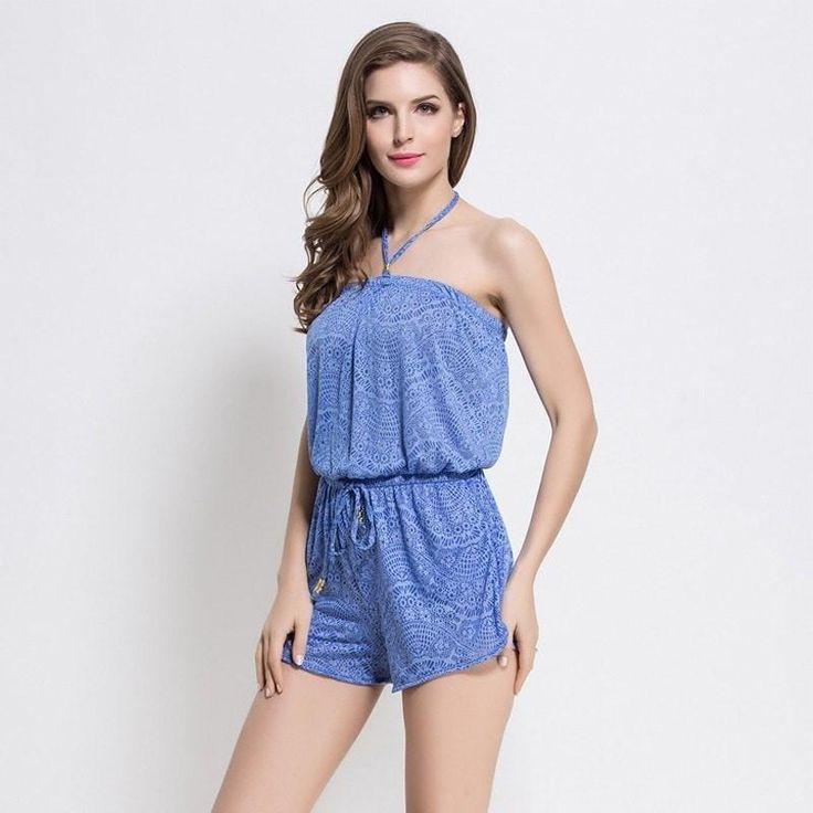 Cute Blue Halter-Neck Paisley-Print Comfortable Beach Jumpsuit Cover Up XS-4XL
