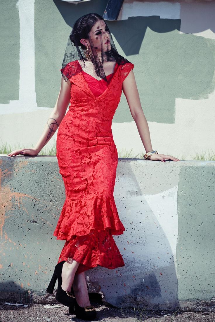 Lady of Spain -  September 2012 | wardrobe: blackcatvintage.com | creative director + stylist: Sydney Ballesteros  | photography: Stacia Lugo Photography | model: Becca Hammen  | makeup: Tangie Duffey | hair: Raul Mendoza | #vintage #fashion #spanishstyle #baroque #flamenco #redlace