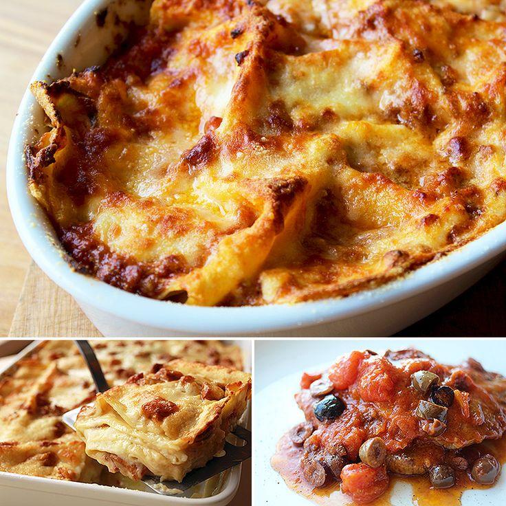 パスタラボ:クラシックなラグーのラザーニェ+トスカーナ風トマトとオリーブ豚肉のグリル   Lasagne classiche + maiale alla toscana con pomodoro e olive