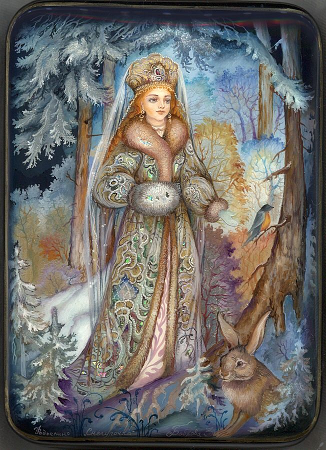 """Russian lacquer miniature from the village of Fedoskino. """"Snow Maiden"""" by Zoya Bobkova."""