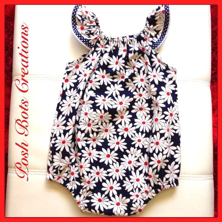 Seaside romper handmade by Karen of Posh Bots Creations available in sizes NB - 3 years