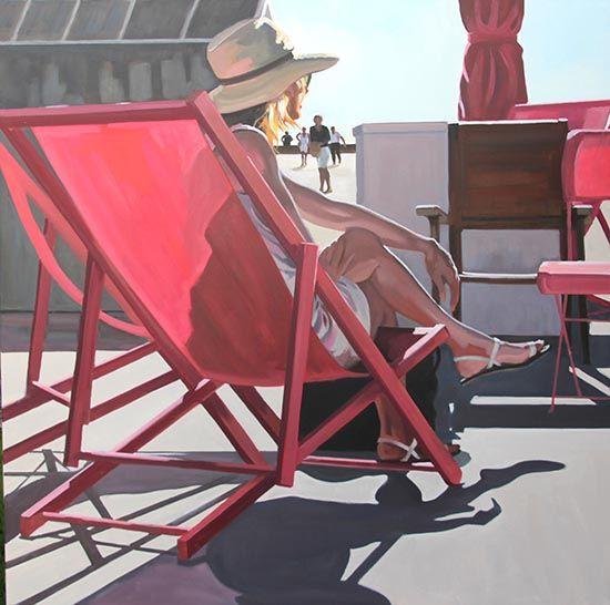 Dans le transat rouge - Huile sur toile - 100 x 100