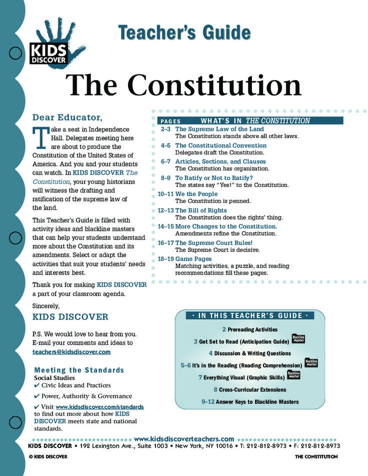 Constitution - KIDS DISCOVER teachers guide & lesson plan.
