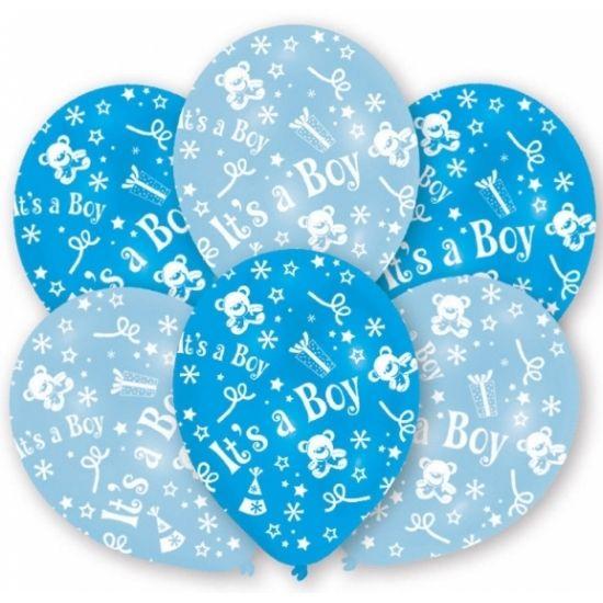 Blauwe babyshower of geboorte ballonnen met ster, beer, sneeuwvlok en cadeau motiefjes en de opdruk : It's a boy. U kunt de ballonnen vullen met helium of lucht. Op te blazen formaat: 27,5 cm. Inhoud per zakje: 6 stuks.