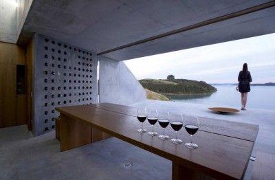 I love this minimalist wine cellar.