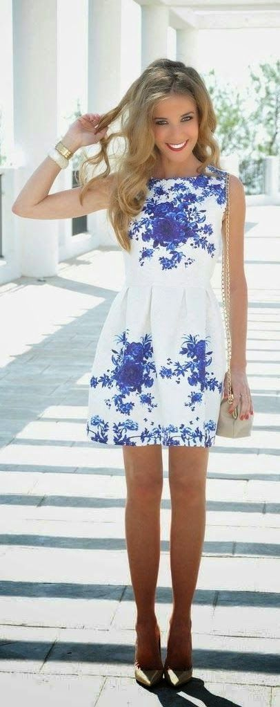 Spring fashion | White printed floral dress | Just a Pretty Style