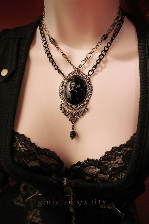 Gothic Cameo Steampunk Victorian Necklace