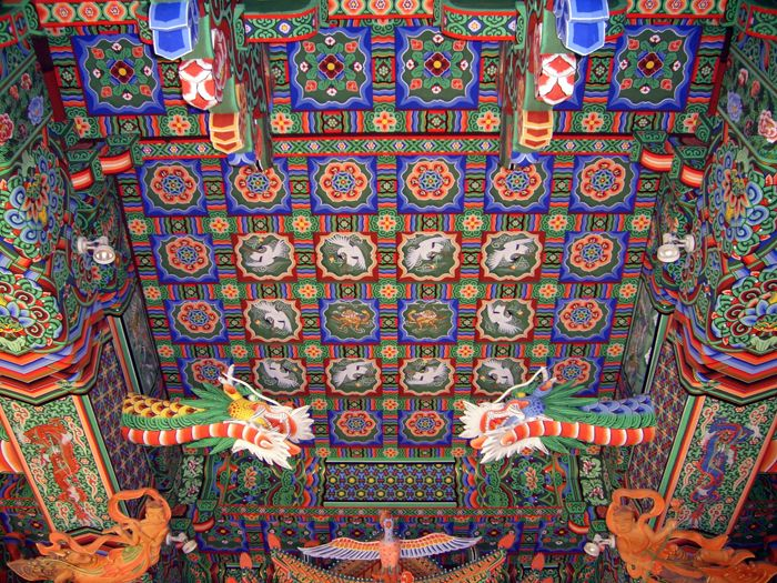 Ceiling painting of main Buddha hall of temple