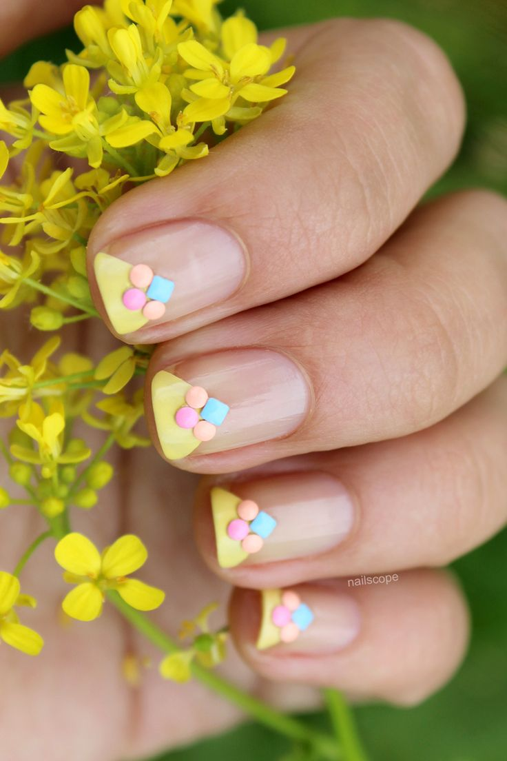 Triangle French Manicure. How cute are these nail art studs?! Love them! (Affiliate)