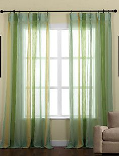 (Two Panels) Natural Striped Mediterranean Sheer Curtain  – EUR € 103.14