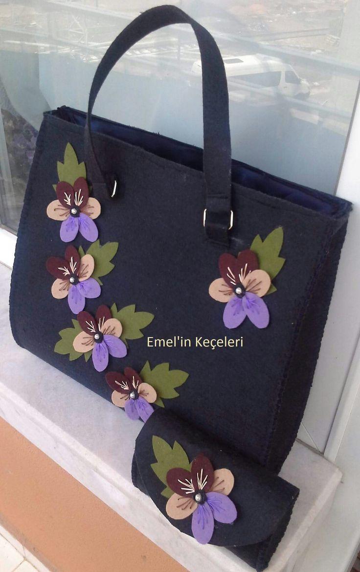 Lovely Embroidery Felt Flower Bag