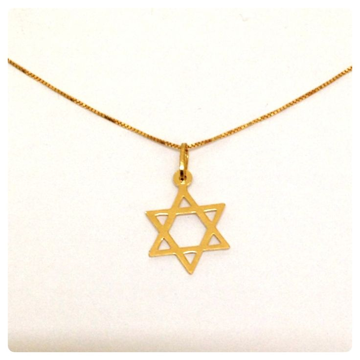 corrente e pingente estrela de davi joia ouro 18k certificad
