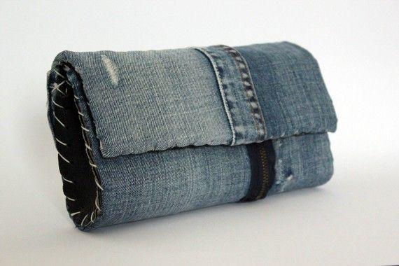 Pochette jeans e pelle nera