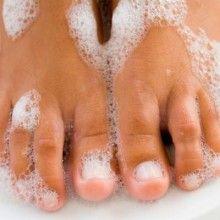 1Tbsp peroxide w 2-1/4 Tbsp baking soda paste for 5 minutes for white toenails