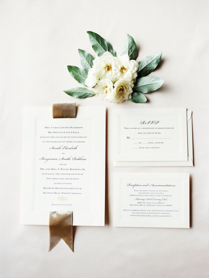 Stunning traditional wedding invitations. Love the velvet ribbon. Photograph by Marcie Meredith Photography