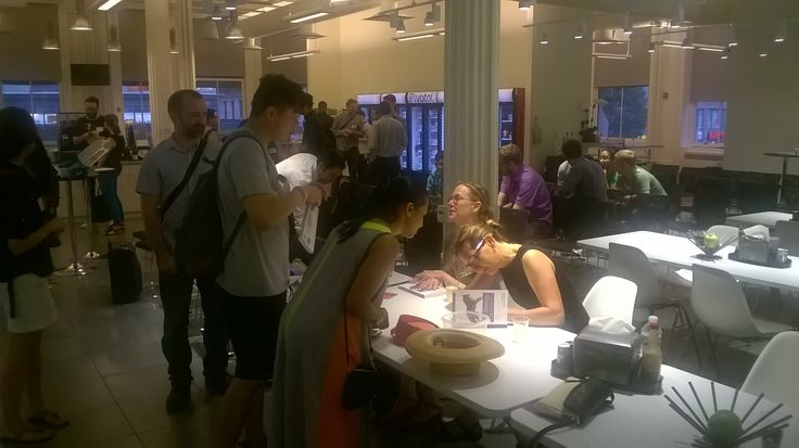 """Jaime Levy, signing/dedicating copies of  """"UX Strategy"""" for much appreciated attendees of her NYC book launch."""