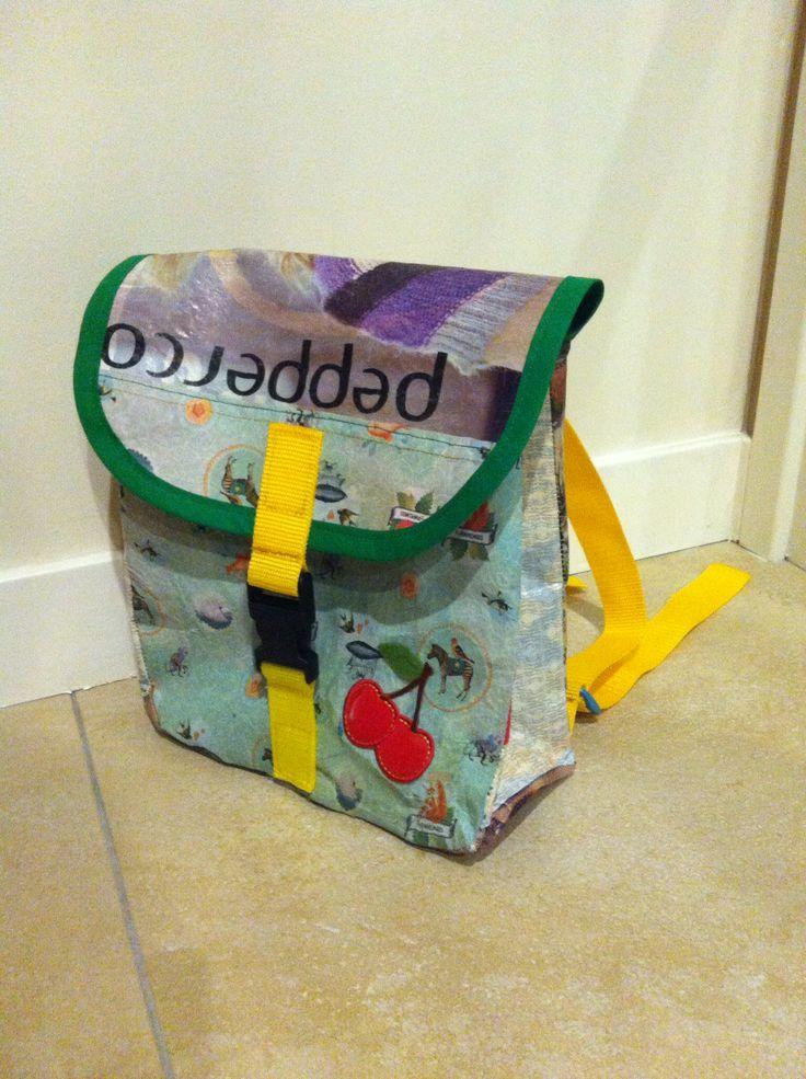 Fused plastic schoolbag backpack