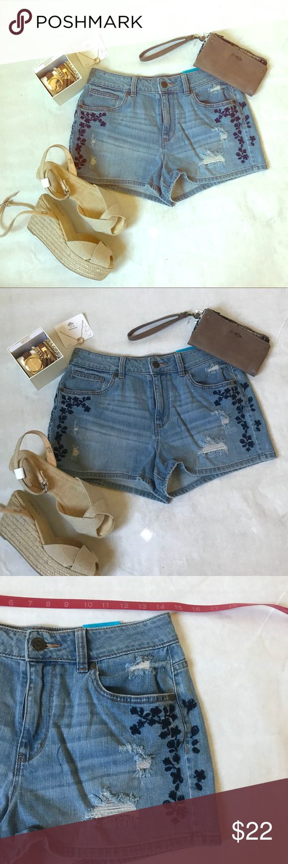 Embroidered flowery jean shorts Get ready for spring in these shorts!! It is absolutely lovely!!! Wear with some flop flops or even wedges! Accessorize and dress it up! Wear a t-shirt and dress it down! So cute! Shorts Jean Shorts