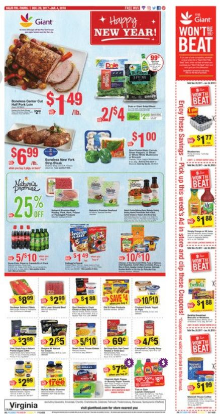 Giant Food Weekly Ad Dec 29, 2017-Jan 04, 2018  https://www.weeklyadspecials.com/giant-food-weekly-ad-dec-29-2017-jan-04-2018/