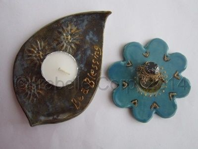 Ceramic leaf and flower (2pc set) Ring Holder, Tealight Candle Holder by Tulipe Studios. See more at:  https://www.facebook.com/TulipeStudios