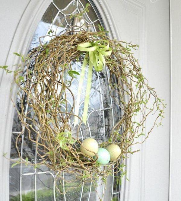 Haustür schmuck-Türkranz Ideen Ostern Frühling-bemalte eier