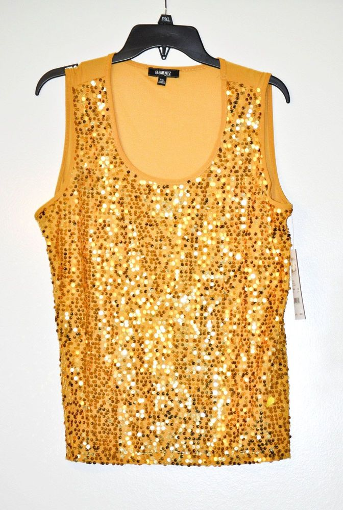 Elementz Women Tank Top Sleeveless Bronze Sequin Front Silk Petite size XL #Elementz #TankCami #Casual