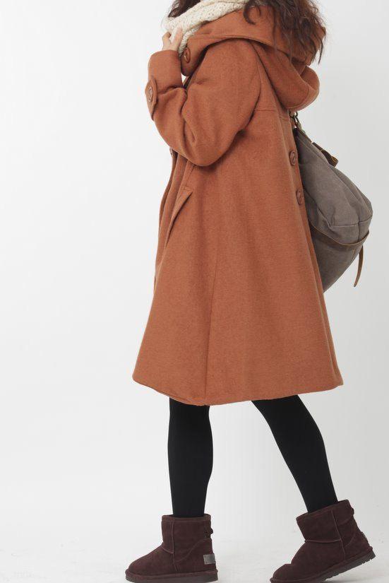 dark orange cloak wool coat Hooded Cape women Winter by MaLieb