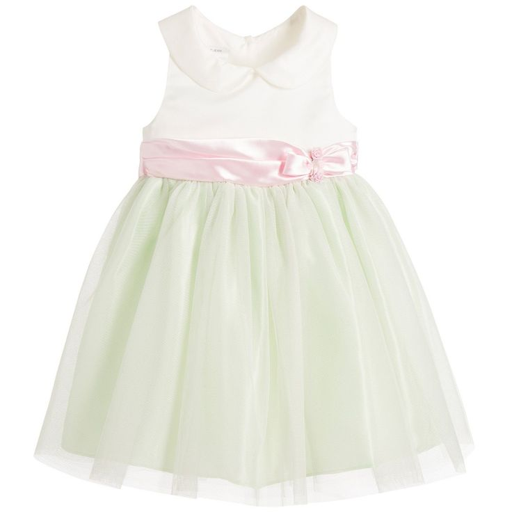 Bonnie Jean SS 2016*** Ivory & Green Satin Dress with Pink Bow & Tulle at Childrensalon.com