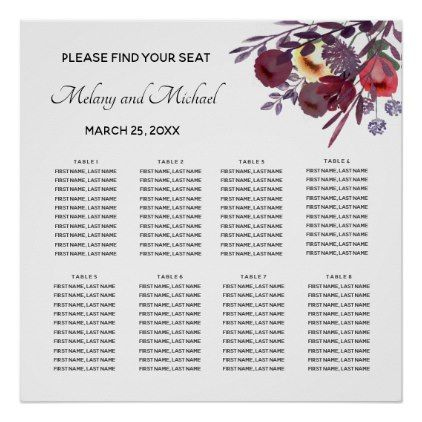 Boho watercolor floral bouquet Seating Chart - floral style flower flowers stylish diy personalize