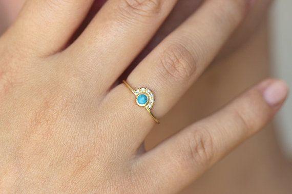 Turquoise bague de fiançailles avec un Pave diamants par artemer