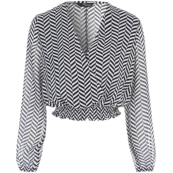 Monochrome Chevron Blouse ($36) ❤ liked on Polyvore featuring tops, blouses, chevron print tops, chevron print blouse, chevron tops, chiffon tops and chevron blouses