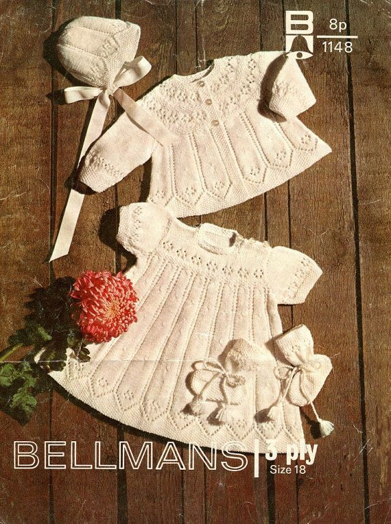 PDF Baby Knitting Pattern - Matinee Coat, Dress, Bonnet, Bootees - 3 Ply Baby…