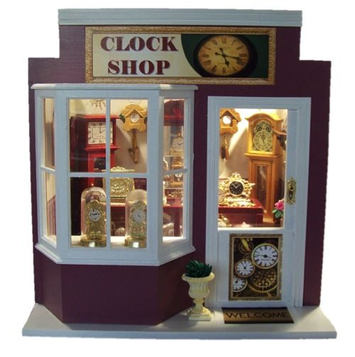 Hand made Miniature Clock Shop. 1:12 scale from www.mumandmeminiatures.com.au