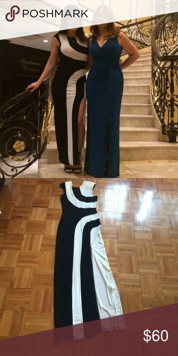 REDUCED PRICE- ASOS evening dress. Size small ASOS black and white evening dress. Thigh high slit as pictured. Comes with shoulder pads. Size small. 95% polyester. Super stretchy. Fits like a medium. Worn once ASOS Dresses