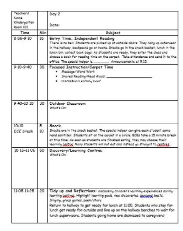 sample day plan template for full day kindergarten