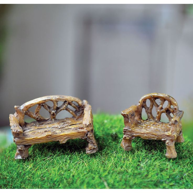 MICRO CHAIR AND BENCH SET - These tiny furniture pieces are the perfect furniture for the micro fairy gardener. You could create a micro world in a tea cup, perhaps a terrarium OR be really creative and create a micro fairy world inside a fairy garden. Endless possibilities with these tiny little pieces.   #fairygardeningaustralia