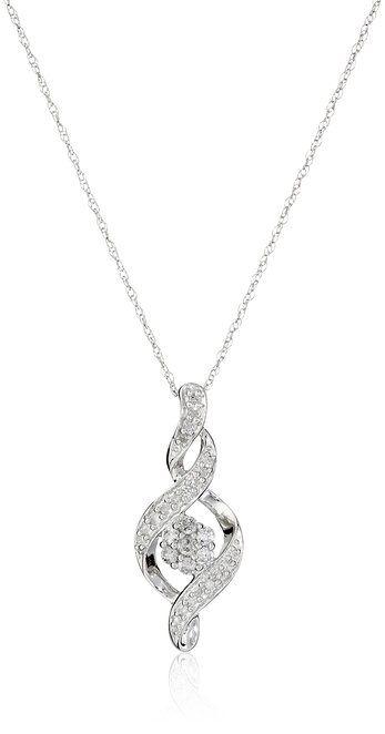 "10k White Gold Diamond Infinity Pendant Necklace (1/4 cttw, K-L Color, I3 Clarity), 18"""