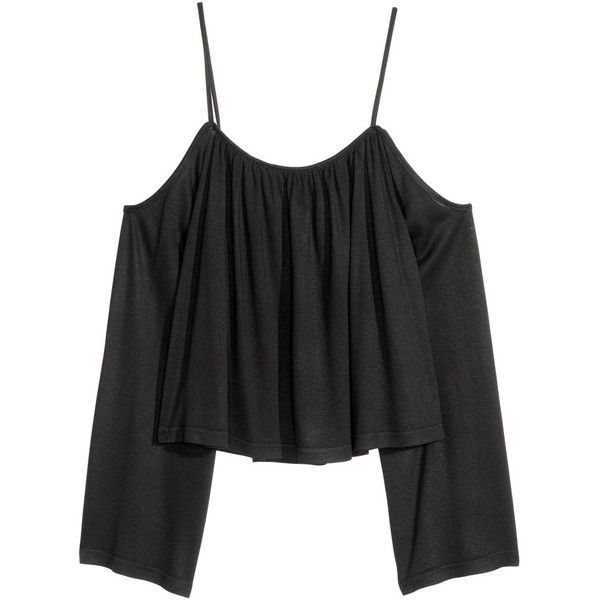 Open-shoulder Top $12.99 ($13) ❤ liked on Polyvore featuring tops, cut out shoulder tops, jersey top, short jersey top, cold shoulder tops and cut shoulder tops
