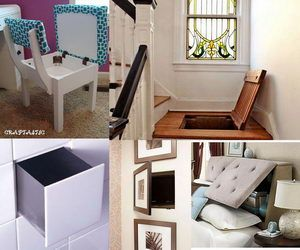 Hidden storage can be fun to use and make, and it play an important part in protecting items in your home. Take a look at these clever hidden storage ideas, which include hidden stairway storage, hiding trash can in a tilt-open-door cabinet, bathroom storage case behind the mirror, hidden storage he...