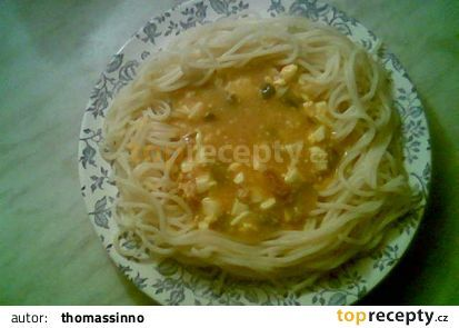 kari omáčka z vepřové konzervy ke špagetám