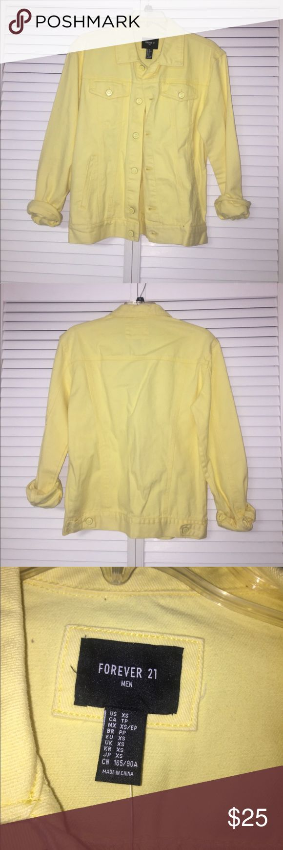 Unisex yellow denim jacket 'Forever 21 Men'-light yellow denim jacket. Brand new. Everyone. Will look fabulous on a woman as oversize denim jacket. Forever 21 Jackets & Coats