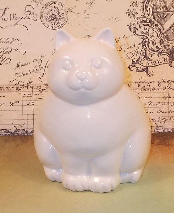 Kitty Cat - Piggy Bank - Ceramic Cat Bank - White - by ceramicsbylisa, $19.95