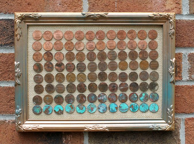 DIY penny ombre art        Hey friends! Today I have a fun guest tutorial! Let's welcome Natalie Shaw from Doodle Craft. I love this ombre art she created with old pennies. This would be such a fun activity to do with your kids this summer! My kids LOVE sorting money! :)