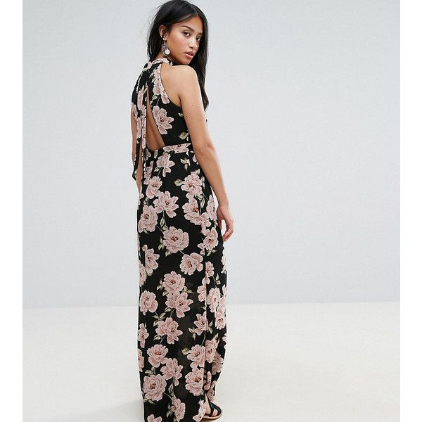 New Look Petite Floral Halterneck Maxi Dress ($27) ❤ liked on Polyvore featuring dresses, black, petite, floral-print maxi dresses, tall maxi dresses, petite floral dress, halter maxi dress and petite dresses