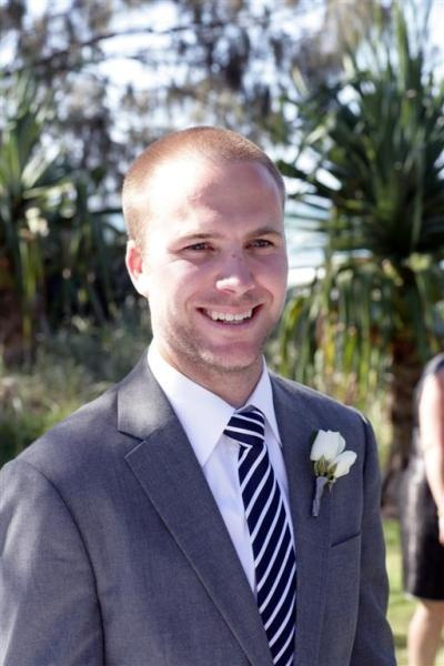 Grey groom's suit with navy striped tie. themarriedapp.com hearted <3